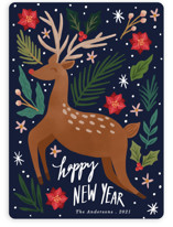 This is a blue non photo holiday card by Elly called Joyous Deer with standard printing on signature in standard.