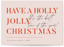 This is a orange non photo holiday card by Corinne Malesic called Holly Jolly Christmas with standard printing on signature in standard.