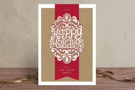 Kraft Ribbon Holiday Cards