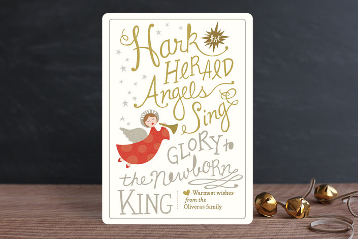 """""""Angels Sing"""" - Bold typographic, Vintage Holiday Cards in Gold by Griffinbell Paper Co.."""