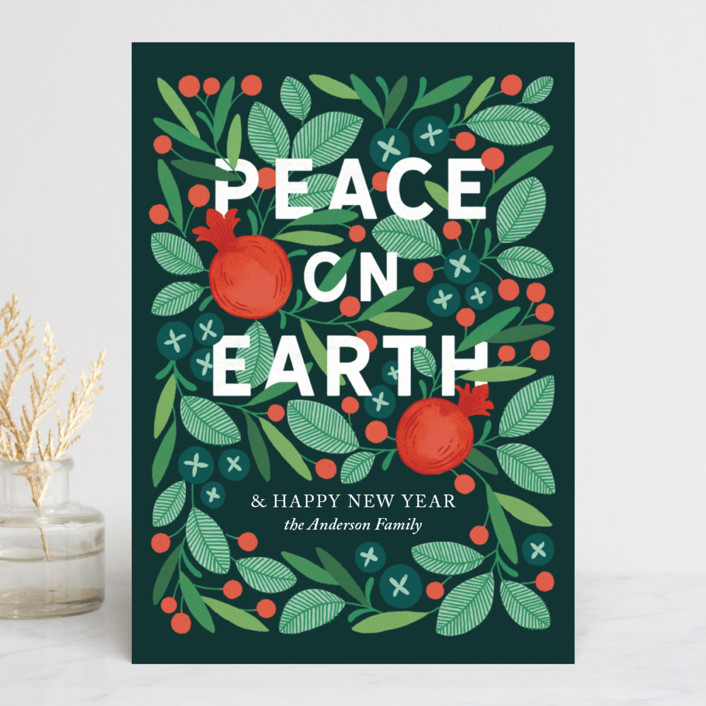 """Wreathed in Peace"" - Holiday Cards in Evergreen by Paper Raven Co.."