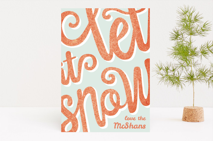 """""""Let It Snow Typography"""" - Modern Holiday Cards in Raspberry by Hanna Mac."""