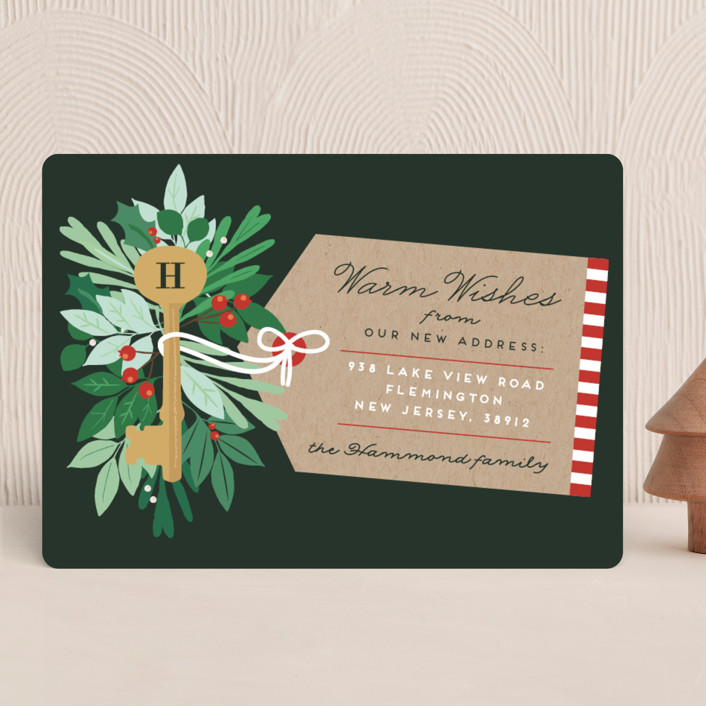 """""""Monogram Key"""" - Holiday Cards in Forest Green by Bonjour Berry."""