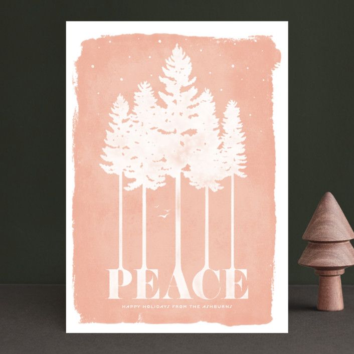 """Serene"" - Bohemian Holiday Cards in Peach by GeekInk Design."
