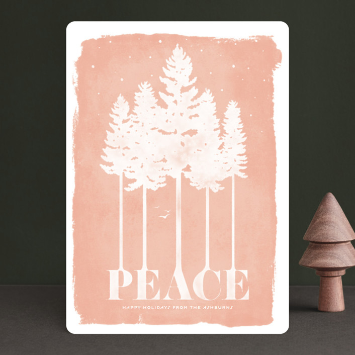 """Serene"" - Bohemian Holiday Cards in Peach by GeekInk Design."