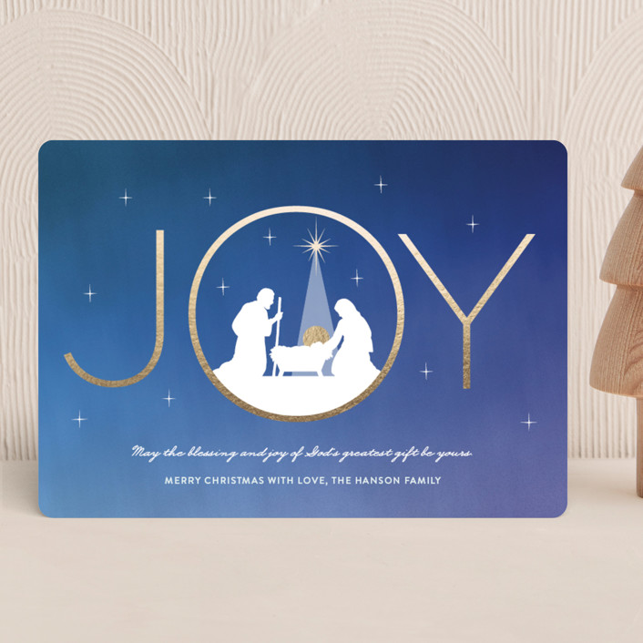 """Joy Blessings"" - Holiday Cards in Cobalt by Coco and Ellie Design."