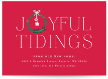 This is a red non photo holiday card by Bonjour Berry called Joyful New Home with standard printing on signature in standard.