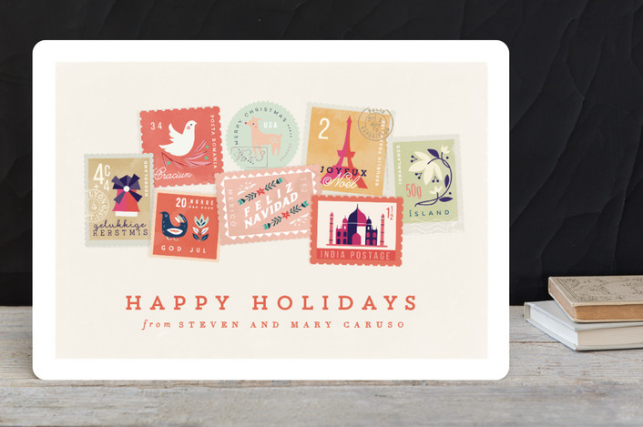 """""""Holiday Stamps"""" - Holiday Cards in Coral by Lori Wemple."""