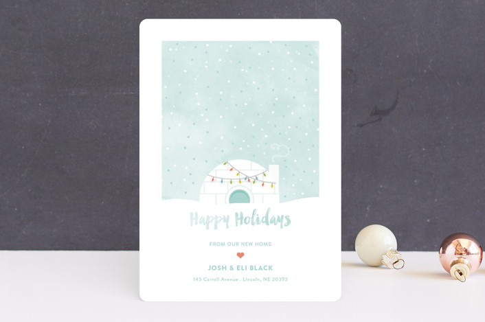 """Igloo Sweet Igloo"" - Holiday Cards in Wintermint by Aspacia Kusulas."