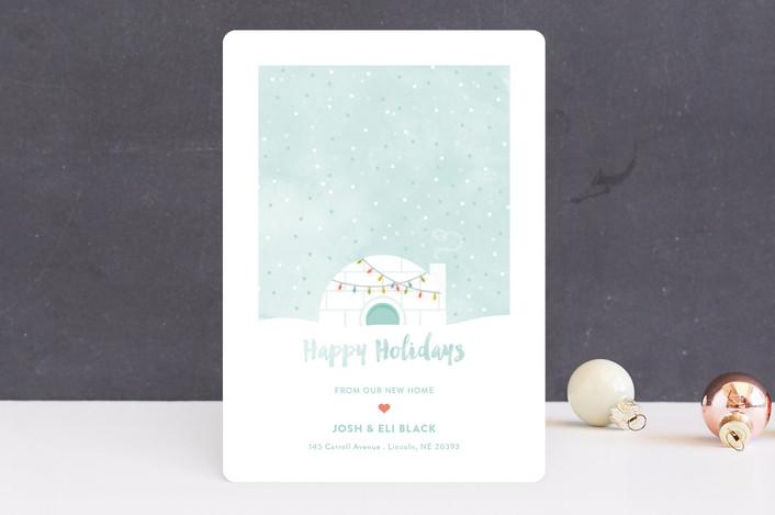 """Igloo Sweet Igloo"" - Holiday Cards in Wintermint by Aspacia Kusulas."