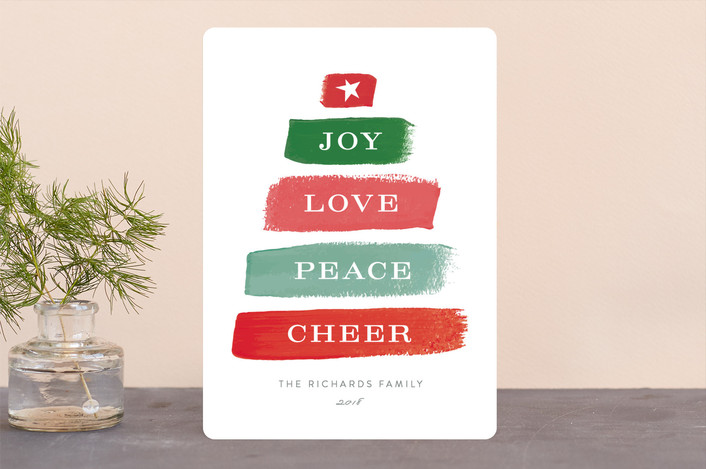 """Different Strokes"" - Holiday Cards in Cranberry by Michelle Poe."