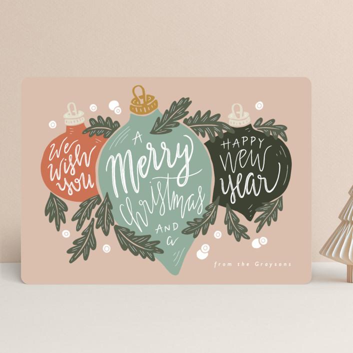 """""""Ornament Trio"""" - Holiday Cards in Juniper by Gratia Design Co.."""