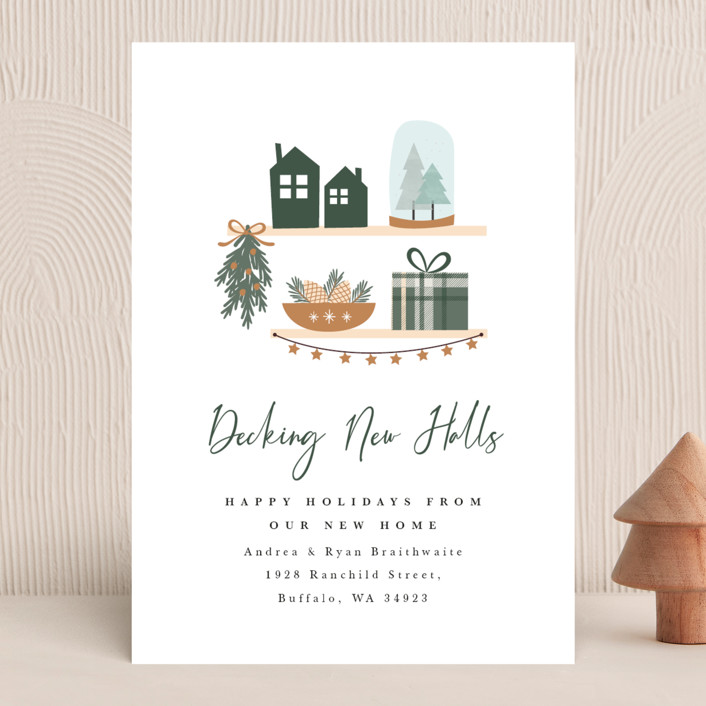 """""""Decking New Halls"""" - Modern Holiday Cards in Caramel by Corinne Malesic."""