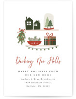 This is a red non photo holiday card by Corinne Malesic called Decking New Halls with standard printing on signature in standard.