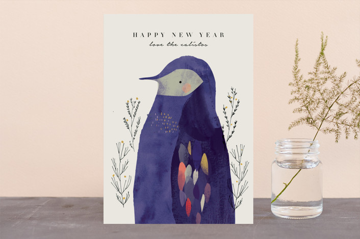 """Penguin"" - Bohemian Holiday Cards in Champagne by Lori Wemple."