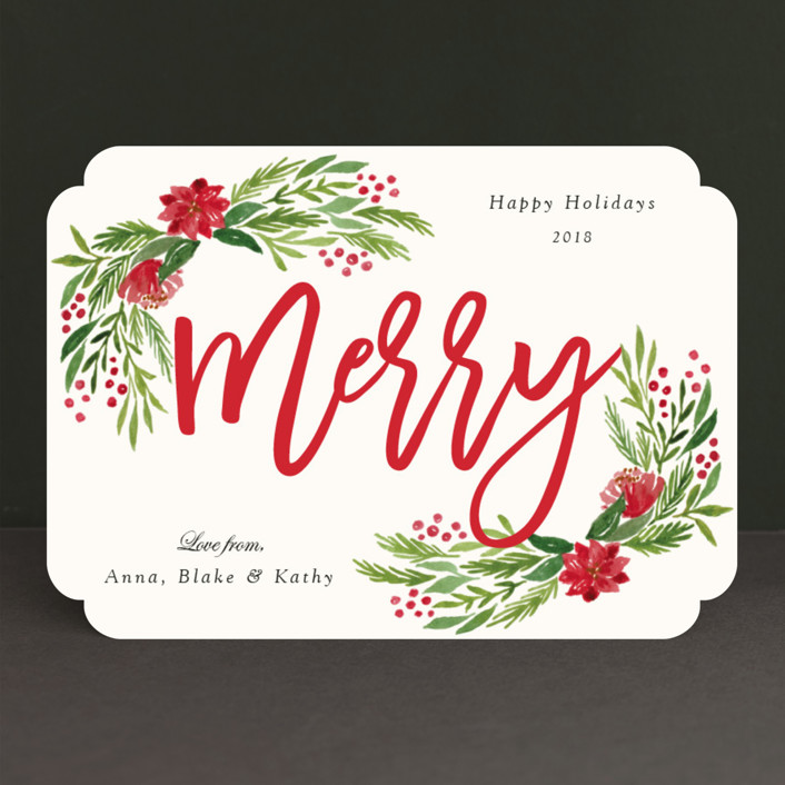 """Merry Floral"" - Holiday Cards in Holly by Elly."