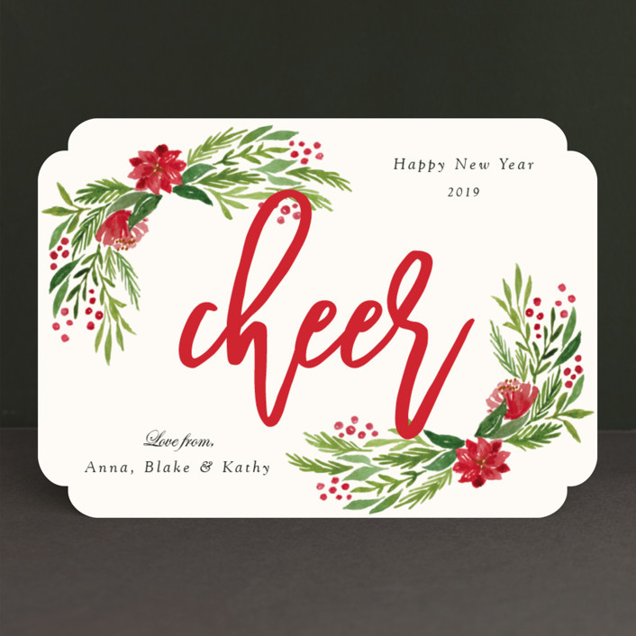 """""""Merry Floral"""" - Holiday Cards in Holly by Elly."""