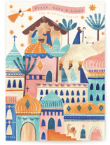 This is a blue non photo holiday card by Sarah Knight called Bethlehem Stars with standard printing on signature in standard.