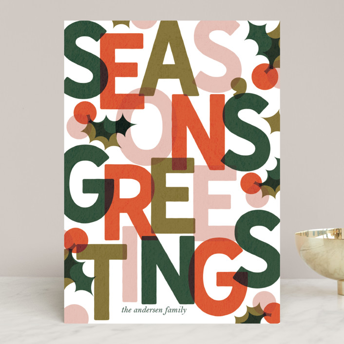 """""""Color Block Season's Greetings"""" - Holiday Cards in Persimmon by Lissabeth Anglin."""