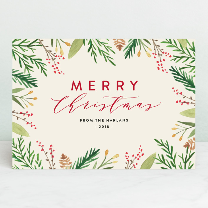 """""""Pinecones & Cedars"""" - Holiday Cards in Cream by Amy Kross."""