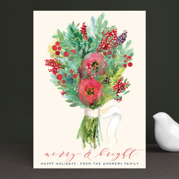 """""""Merry and Bright"""" - Holiday Cards in Vanilla by Alexandra Dzh."""