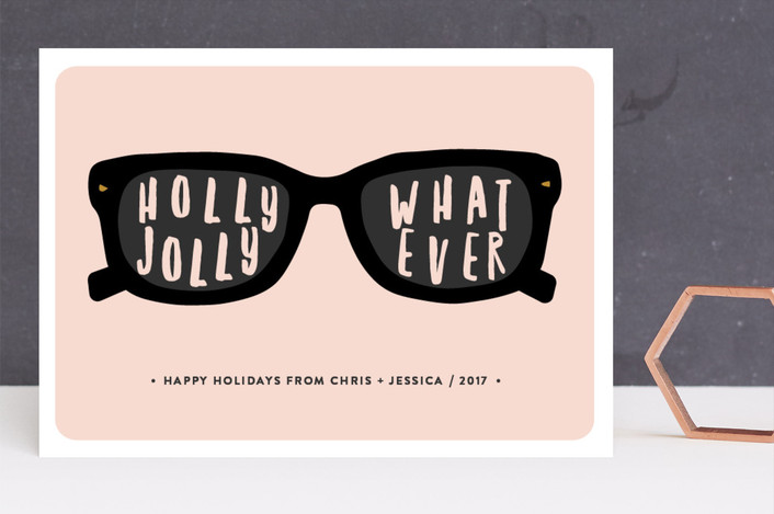 """Holly Jolly"" - Funny Holiday Cards in Bubble Gum by Susan Brown."