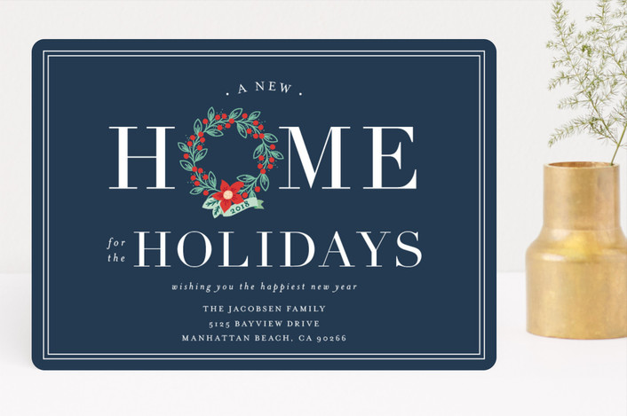 """Home for the Holidays"" - Holiday Cards in Navy by Shirley Lin Schneider."