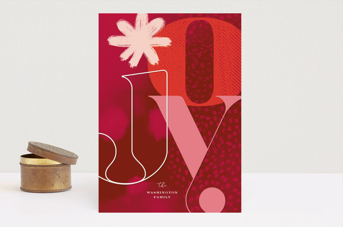 """Bold Joy and Watercolor"" - Modern Holiday Cards in Crimson by fatfatin."