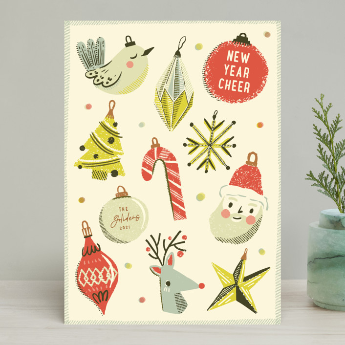"""Retro Ornaments"" - Vintage Holiday Cards in Berry by Vivian Yiwing."