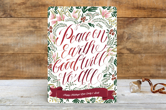 """Peace on Earth"" - Floral & Botanical Holiday Cards in Crimson by Margaret Jeane."