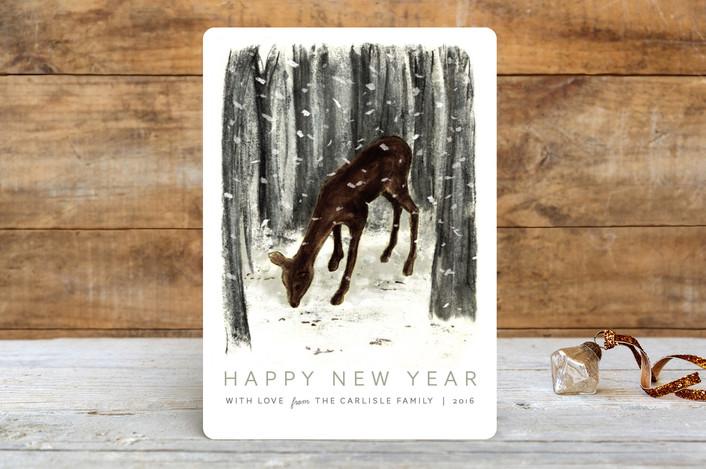 """""""Peaceful Deer"""" - Holiday Cards in Smoke by Megan Howe."""