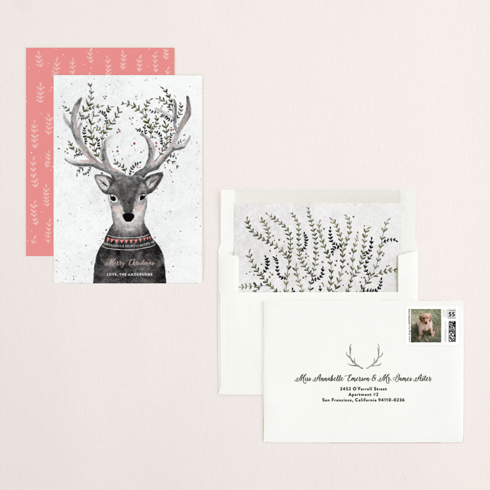 """Reindeer Love"" - Bohemian Holiday Cards in Grapefruit by Cass Loh."