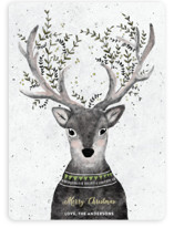This is a green non photo holiday card by Cass Loh called Reindeer Love with standard printing on signature in standard.
