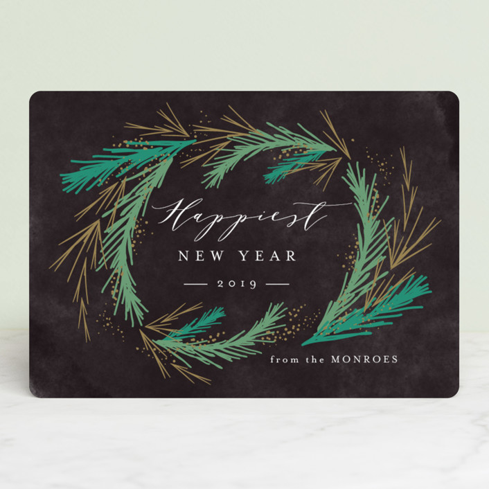 """Festive Winter Greens"" - Holiday Cards in Night Sky by Kristie Kern."