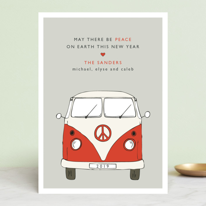 """""""The Peace Van"""" - Modern Holiday Cards in Holly Berry by Alston Wise."""