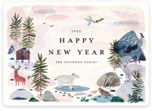 This is a pink non photo holiday card by Morgan Ramberg called Winter Ice with standard printing on signature in standard.