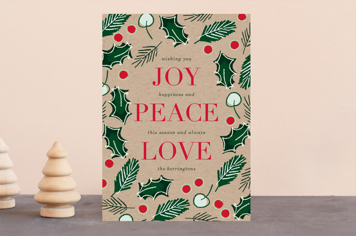 """Peace Love & Holly"" - Vintage Holiday Cards in Kraft by Baumbirdy."