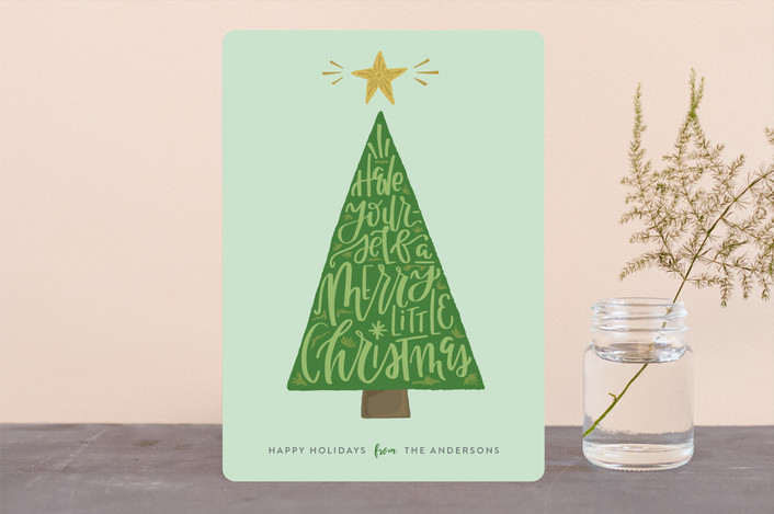 """Doodle Tree"" - Holiday Cards in Mint by Olivia Goree."