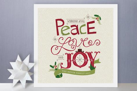 Handmade Peace, Love And Joy Holiday Cards