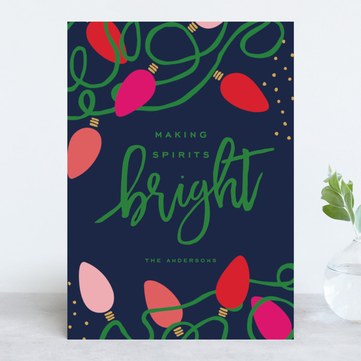 """""""Tangled Lights"""" - Holiday Cards in Navy by Oscar & Emma."""
