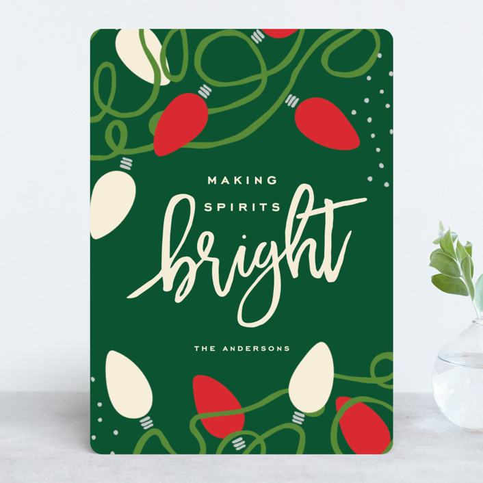 """Tangled Lights"" - Modern Holiday Cards in Midnight by Oscar & Emma."