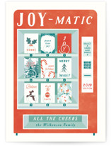 This is a red non photo holiday card by Gwen Bedat called Joymatic with standard printing on signature in standard.