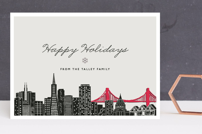 """""""Big City - San Francisco"""" - Cities & States, Modern Holiday Cards in Light Taupe by Hooray Creative."""