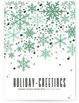 This is a green non photo holiday card by Melissa Egan of Pistols called Sophisticated Snow with standard printing on signature in standard.