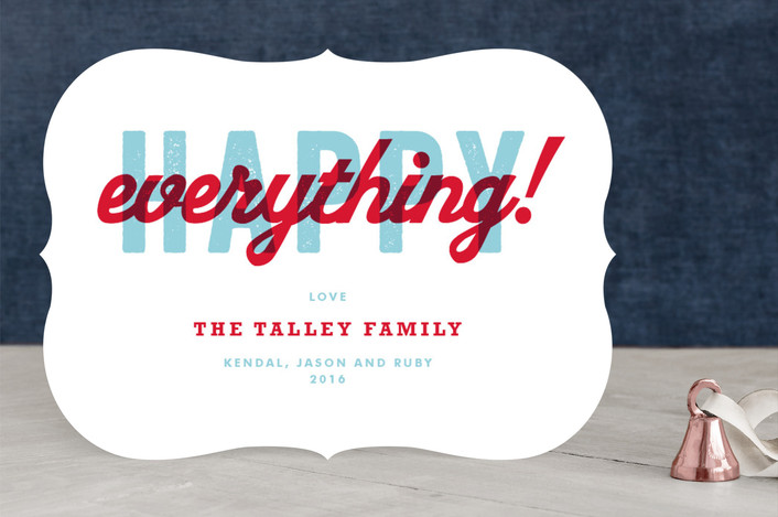"""""""Happiness for All"""" - Abstract, Bold typographic Holiday Cards in Berry Red by root beer float."""