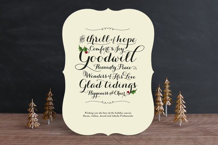 """Glad Tidings"" - Bold typographic Holiday Cards in Eggnog by Ann Gardner."