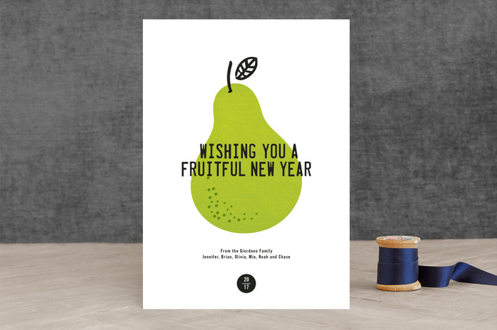 """Fruitful"" - Modern, Minimalist Holiday Cards in Earligold by Robin Ott."