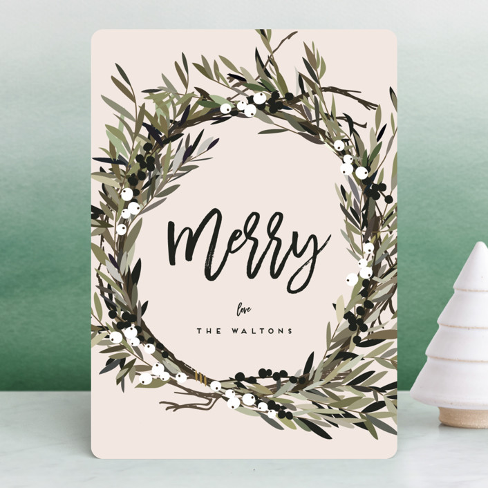 """""""Modern Wreath"""" - Holiday Cards in Blush by Leah Bisch."""