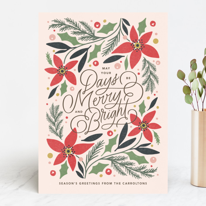 """""""Poinsettia Trim"""" - Holiday Cards in Holly by Kristen Smith."""