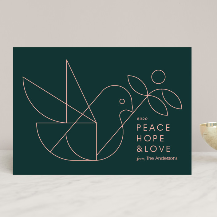 """""""Geometric Dove"""" - Modern Holiday Cards in Evergreen by Heather Francisco."""